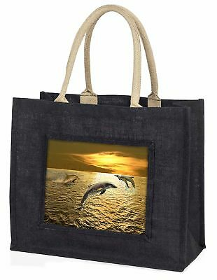 Gold Sea Sunset Dolphins Large Black Shopping Bag Christmas Present Id, AF-D4BLB