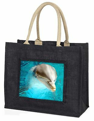 Dolphin Close-Up Large Black Shopping Bag Christmas Present Idea      , AF-D5BLB