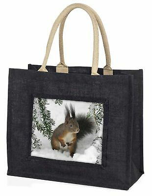 Forest Snow Squirrel Large Black Shopping Bag Christmas Present Idea   , AS-4BLB