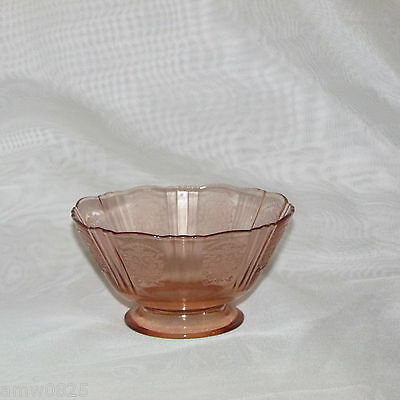Lovely Pink Glass Footed Dessert Or Sugar Bowl Candy Dish Scalloped Lace Pattern