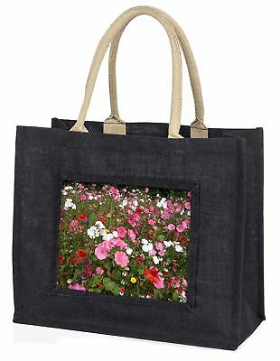 Poppies and Wild Flowers Large Black Shopping Bag Christmas Present Id, FL-10BLB