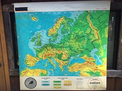 Vintage School Pull Down Map - Crams - Physical Political Map Of Europe