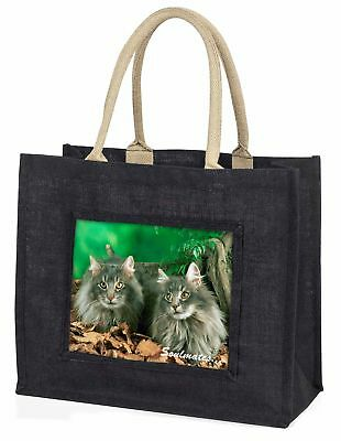 Norwegian Forest Cats 'Soulmates' Large Black Shopping Bag Christmas , SOUL-8BLB