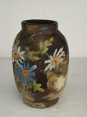 Antique Pinched Flower Painted American Art Pottery Arts and Crafts Vase Signed
