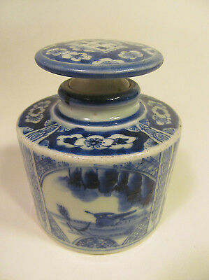 *Vintage Chinese Lidded Jar Blue & White Birds Flowers and Plants