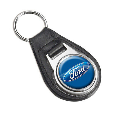 FORD FOB Key Ring Keyring Leather Stainless Steel Grill Badge Car Gift (FD0223)