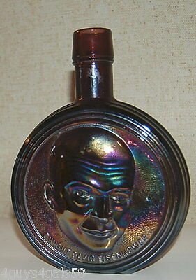 Dwight David Eisenhower CARNIVAL GLASS DECANTER BOTTLE Purple FIRST EDITION