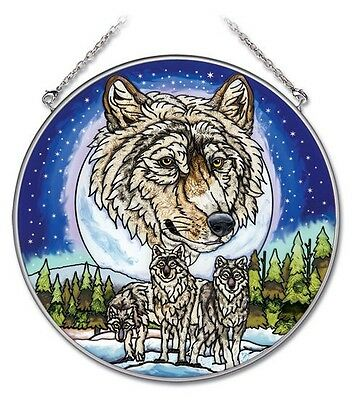 """Amia Stained Glass Suncatcher Wolf Pack Wolves 6.5"""" Round  #41730"""