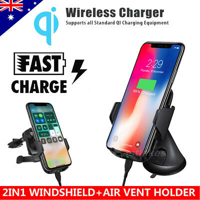 QI Wireless Charger Car Charging Phone Mount Holder For iPhone X 8 Samsung S9