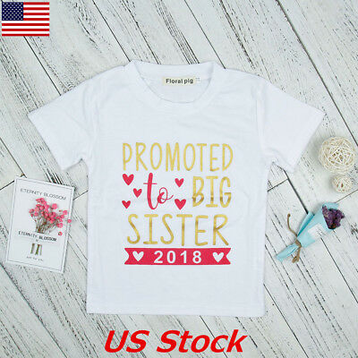 Promoted To Big Sister 2018 Toddler T-Shirt Kids Girls Expecting Baby Gifts USA
