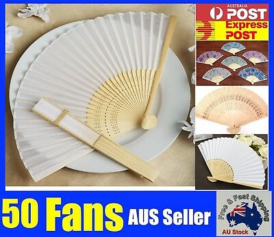 50 Chinese Hand Folding Silk Bamboo Wooden Paper Fan White Red Pink Flower NEW