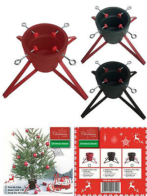 Metal Christmas Tree Stand Base Cover Red Black Four Leg Green Plastic Bucket
