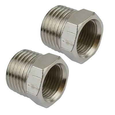 "1/2"" BSP Male to 3/8"" BSP Female Threaded Adapter Hex Bush 2 PACK FT066"