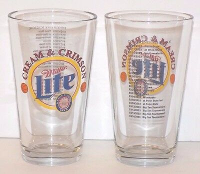 Set of 2 Miller Lite Cream & Crimson Pint Glasses 2003 Conference Schedule