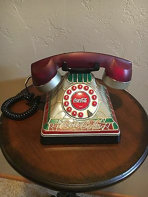 Coca-Cola Tiffany Stained Glass Telephone Plug In Desk Phone Please read!