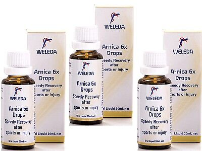3 x 30ml WELEDA Arnica ( 6x ) Drops * SPEEDY RECOVERY sports injuries , surgery