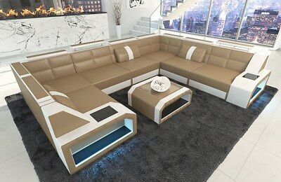 ledersofa eckcouch sofa garnitur pesaro xl u form led beleuchtung grau wei eur. Black Bedroom Furniture Sets. Home Design Ideas