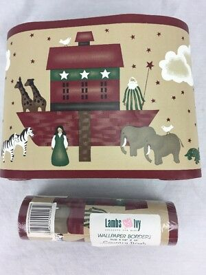Lambs Ivy Country Noah Wallpaper Wall Border Noahs Ark Folk Art 15' plus  NEW