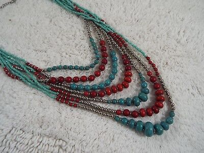 Blue Red Howlite Turquoise Stone Multi Strand Bead Necklace (C71)