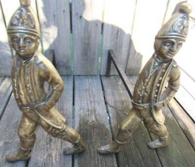 Antique Pair Of Hession Soldier Andirons-Brass Finish, Exceptional Quality!!!