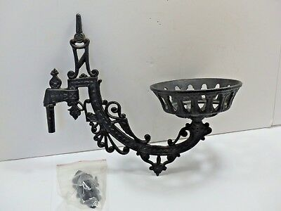 "Vintage Cast Iron Oil Lamp Holder Wall Sconce Swing Arm w/Wall Hook 5"" Fitter"
