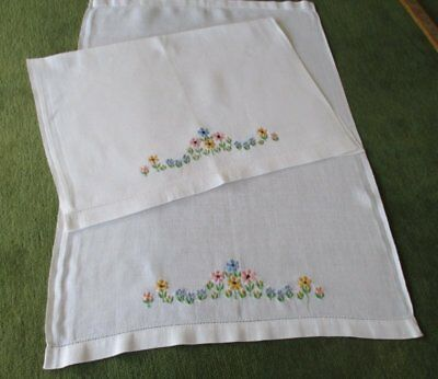PR.ANTIQUE HUCKABACK HAND GUEST TOWELS with EMBROIDERY