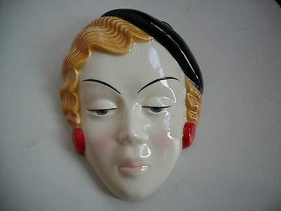 Exquisite Stafforshire  Wall Deco Style  Face Mask Of A Lady By Moorland Pottery