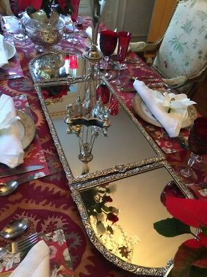 English Victorian Silver Plate 3 Sections Mirrored Plateau