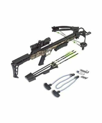 CARBON EXPRESS X-FORCE BLADE CAMO CROSSBOW w/ 3 Arrows,Scope,Rope Cocker,Quiver
