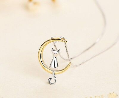 "Women Girl Sterling silver Gold Moon Cat pendant necklace 18"" Chain Gift Box Kid"