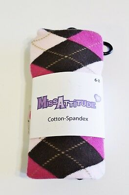 Miss Attitude Knit Tights Size 6-8 Brown Pink NEW