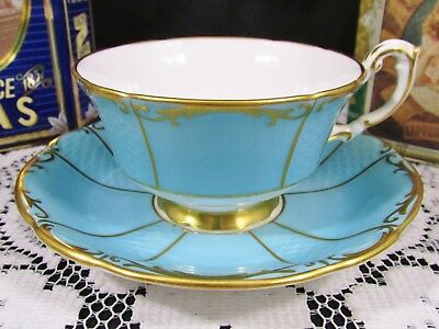 Paragon Gold Gilt Embossed Sky Blue Tea Cup And Saucer Teacup