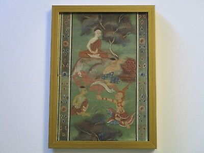 Antique Iconic Painting Asian Folk Art Thailand Village Manuscript 19Th Century