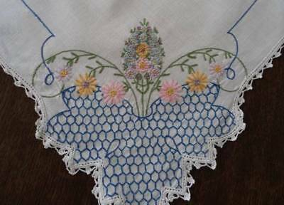 Vintage Linen Mantle Scarf Runner French Knot Embroidered Lilacs 39""