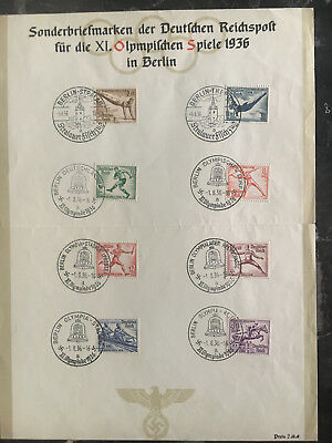 1936 Germany Olympics Set Special Commemorative Sheet with Berlin Street cancels