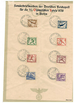 1936 Germany Olympics Set on Special Commemorative Sheet with Late cancels