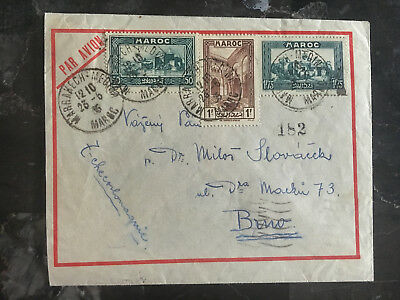 1935 Marrakesh Morocco Airmail cover to Czechoslovakia Multi Franked