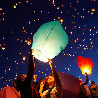 5x Sky Flying Paper Wishing Lanterns Lucky Light Wedding Party Assorted Colors*