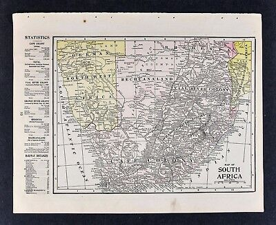 1905 Crowell Map Cape Colony South Africa Rhodesia Orange River Natal Railroads