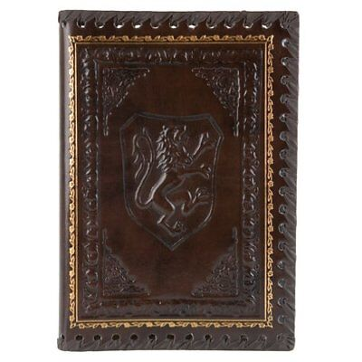 Eccolo Lions Refillable Leather Journal with Embossed Lion Crest, Gold Edge 6x8""