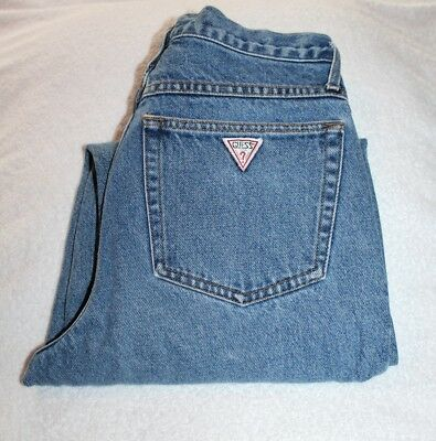 Vintage 80s GUESS High Waist Button Fly Tapered Retro Denim MOM Jeans 29x31 USA