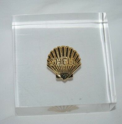 Shell Oil acrylic paperweight, Shell emblem, employee item