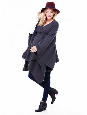 NWT $88 Ingrid & Isabel Maternity Belted Cozy Wrap Dark Gray One Size