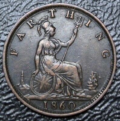 1860 GREAT BRITAIN - FARTHING - TOOTHED BOARDER BRONZE - Victoria - Nice DETAILS