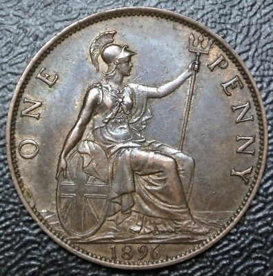 1896 GREAT BRITAIN - ONE PENNY - BRONZE - Victoria - Nice DETAILS