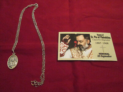 St. Padre Pio  Medal with 24 Inch Silver tone Necklace and Prayer- Holy Card