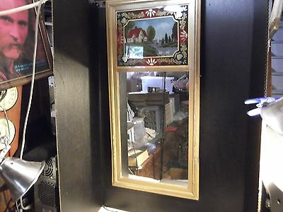 Antique Reverse Painted Wall Mirror