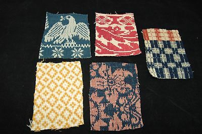 Antique Coverlet Pieces for Pillows Stockings Appliques Hearts Lot of 5  - L