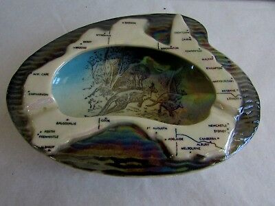 Wembley Pottery Ashtray Ceramic Map Australia Kangaroos Australian