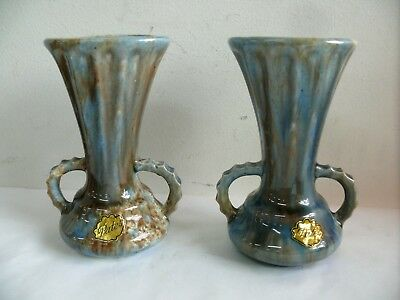 Pair Pates Mottled Drip Glaze Vase With Stickers Australian Studio Pottery